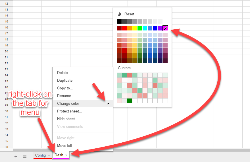 coloring tabs in google sheets