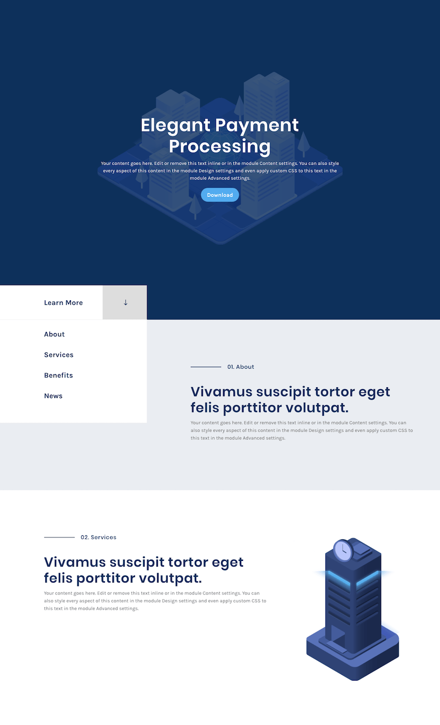scroll button layout example