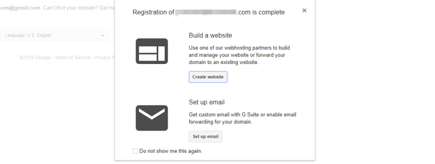 Your domain registration success message.