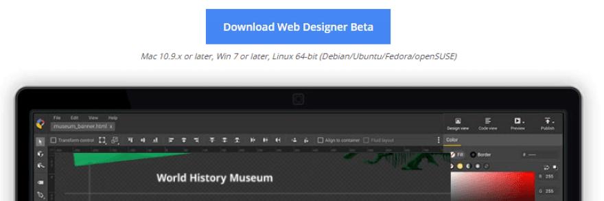 Downloading the Google Web Designer.