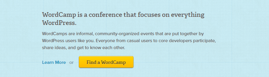 The WordCamp home page.