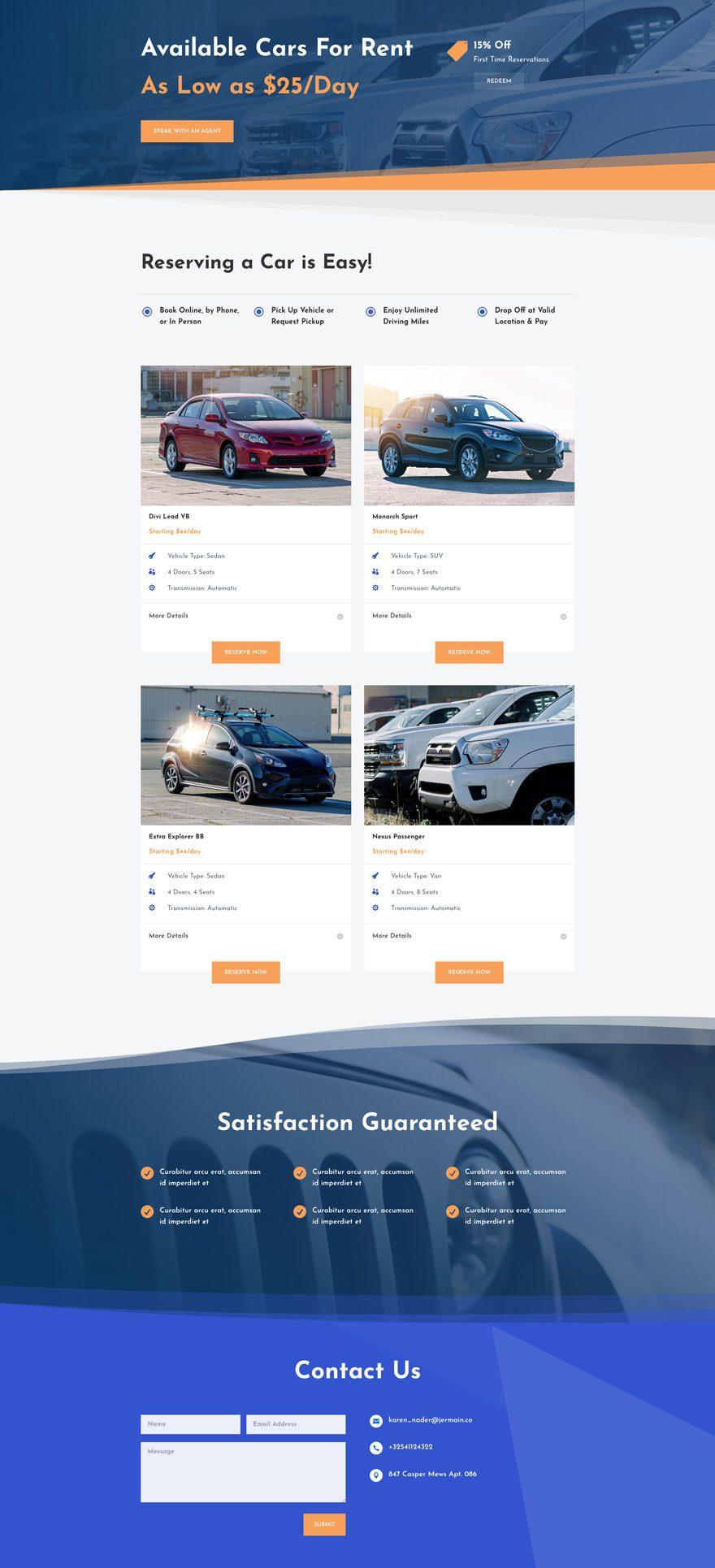 car rental layout