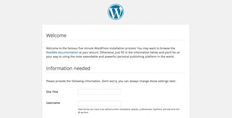 The WordPress five-minute installer.
