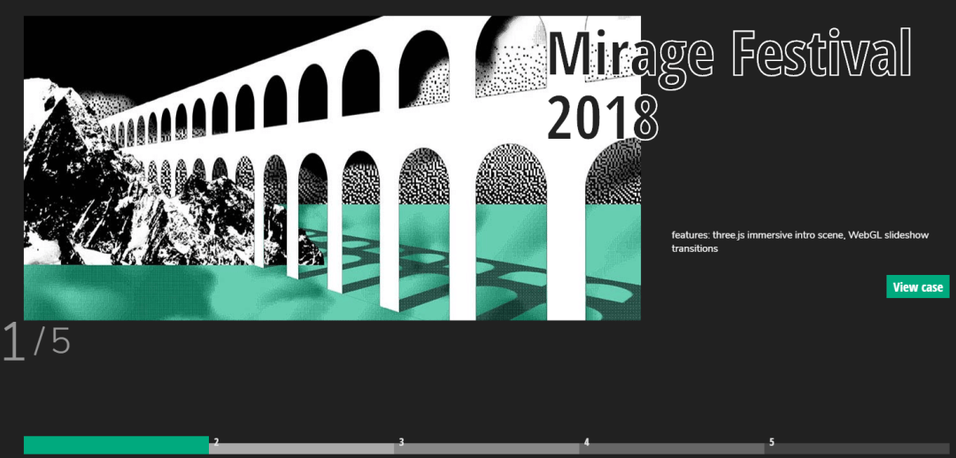 The Mirage Festival homepage.