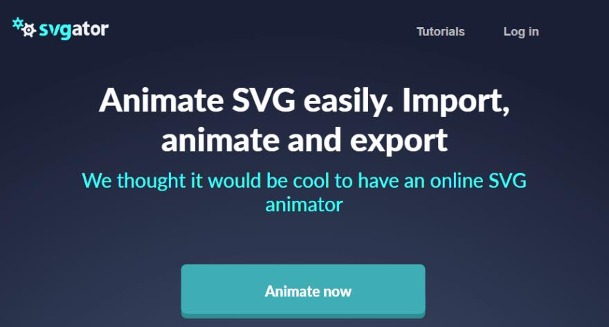 The SVGator homepage.
