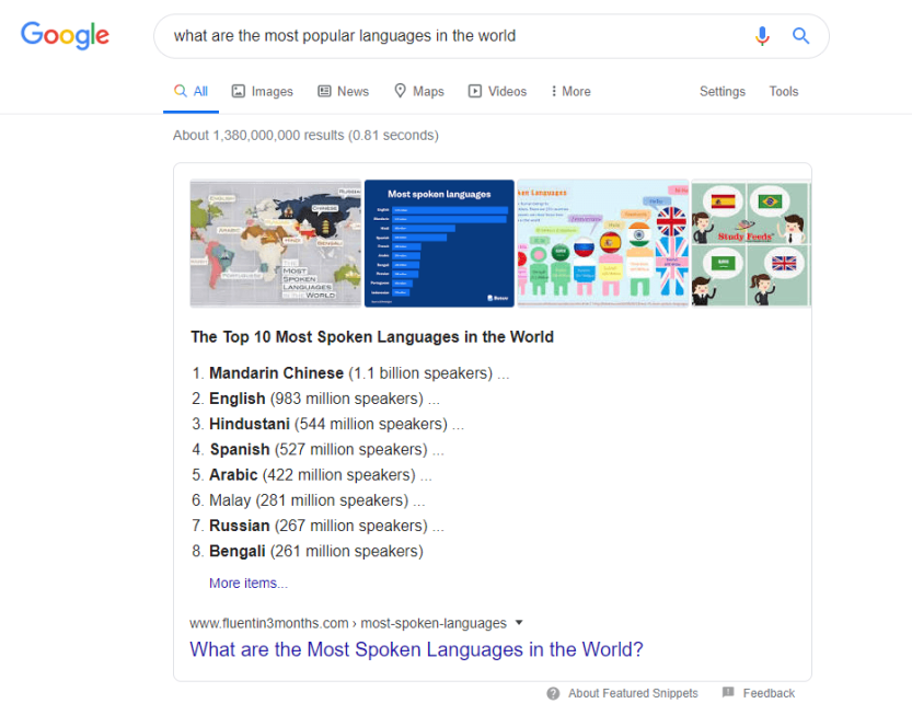 A list-based featured snippet.