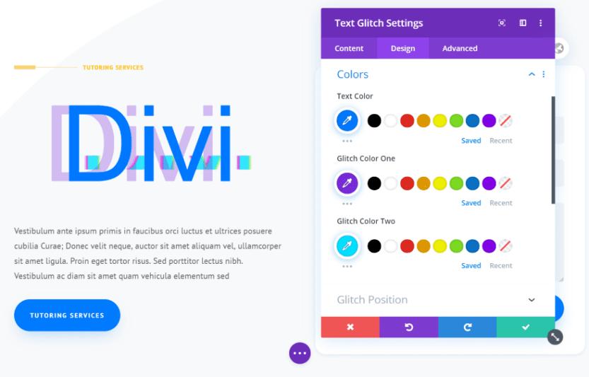 Divi Next Texts Text Glitch
