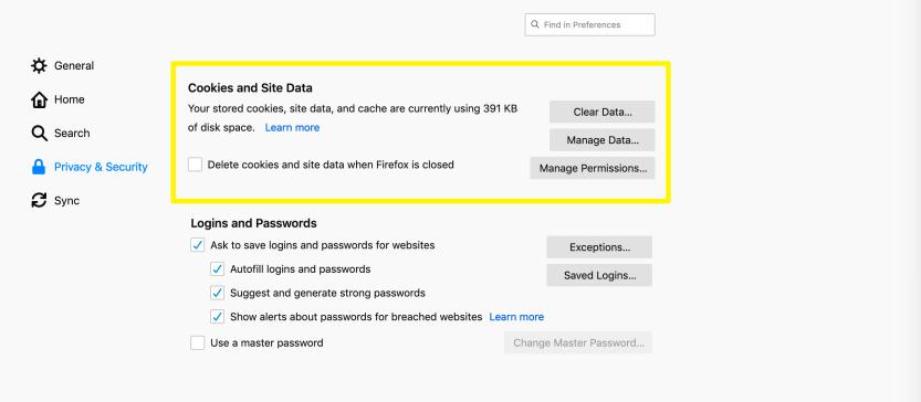 Firefox browsing data settings.