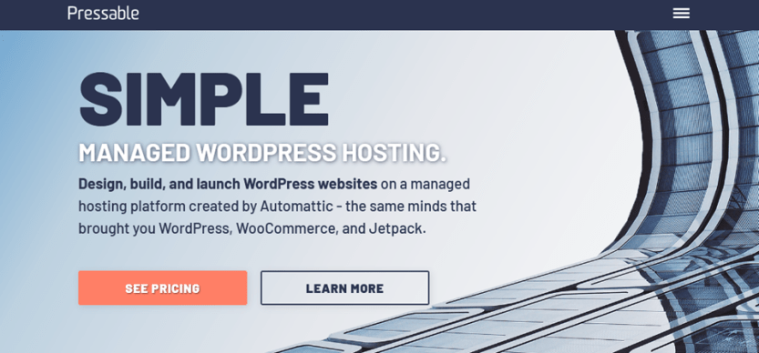pressable landing page