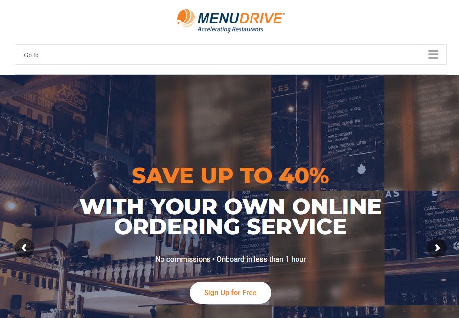 The MenuDrive homepage.