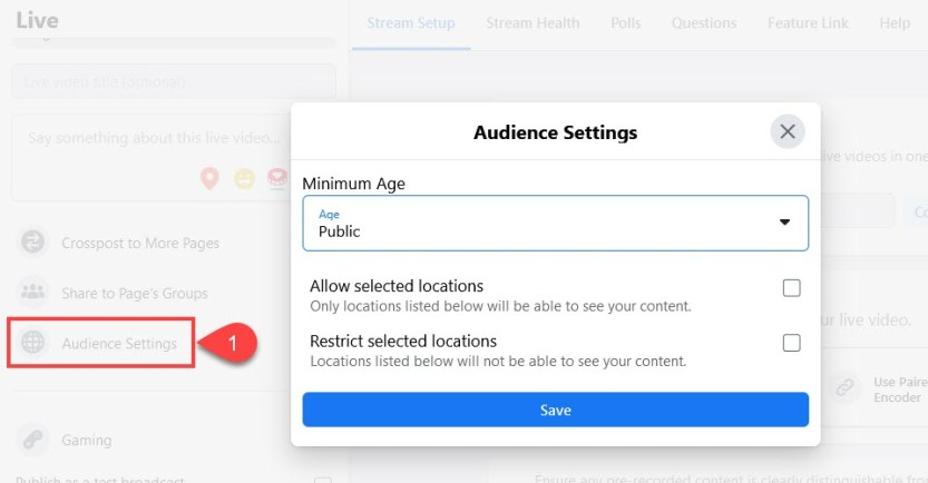 fb live audience settings