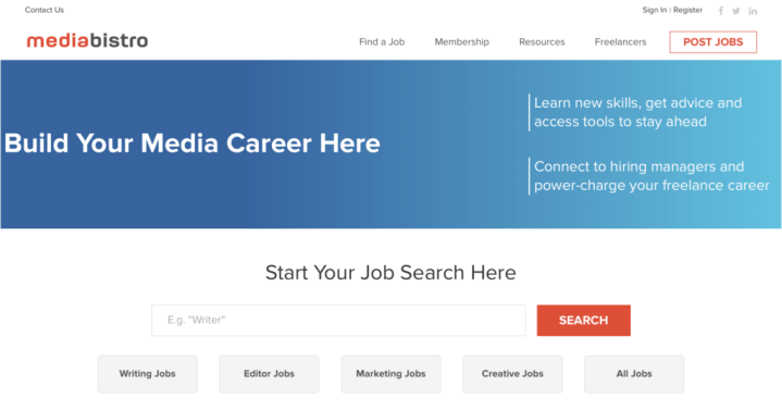 Mediabistro homepage