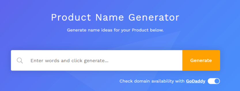 The Business Name Generator home page.
