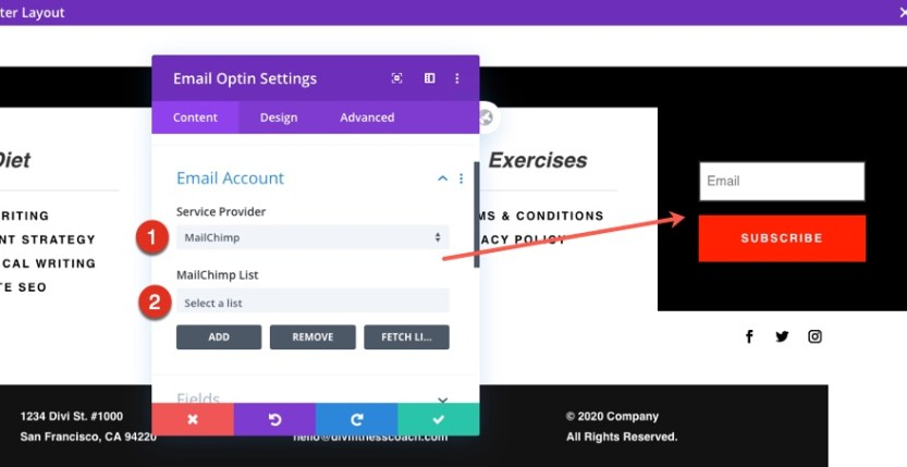 header and footer template for Divi's Fitness Coach Layout Pack