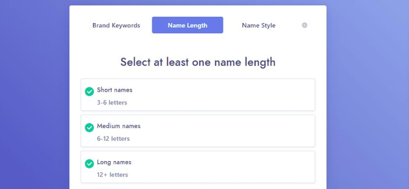Choosing name length within Namelix.