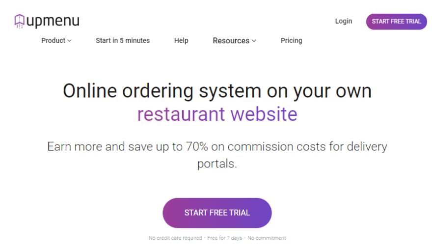 The UpMenu homepage.