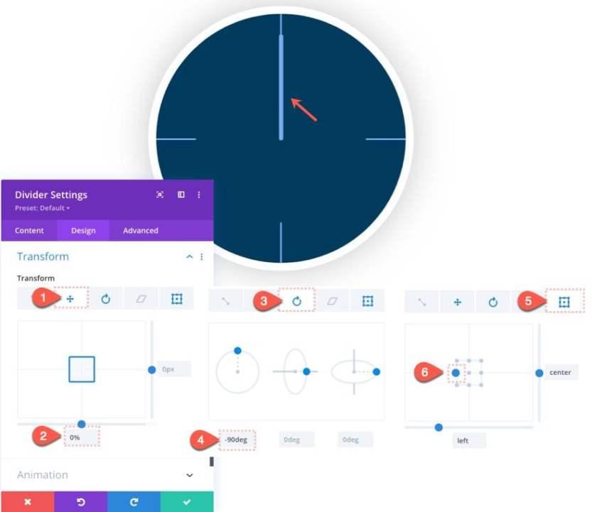 divi animated clock scroll effect