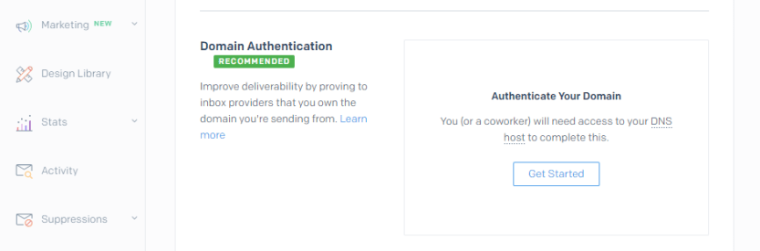 Starting SendGrid's domain authentication process.