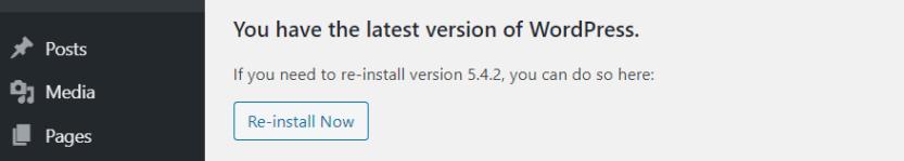 Re-installing WordPress.