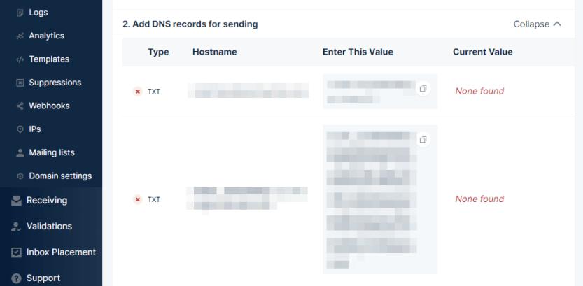 Mailgun sending records.