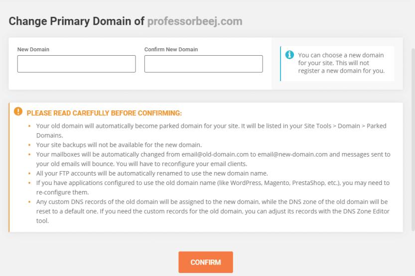 change primary domain warning