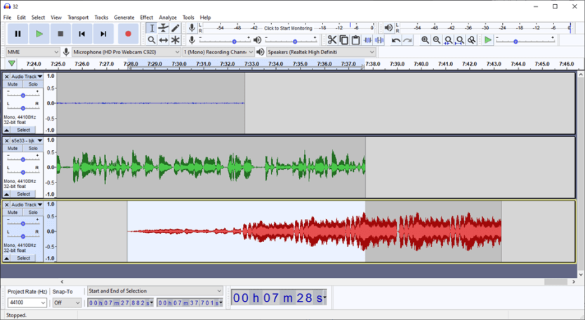 faded in audio for outro music