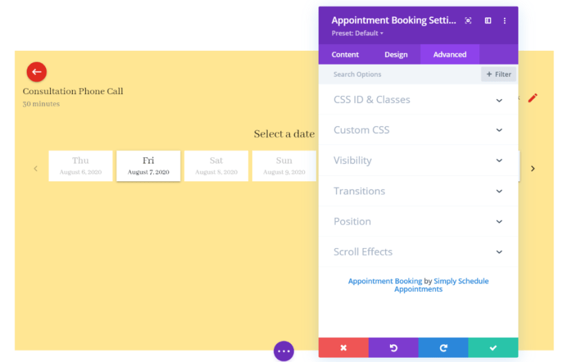 Simply Schedule Appointment Module Settings