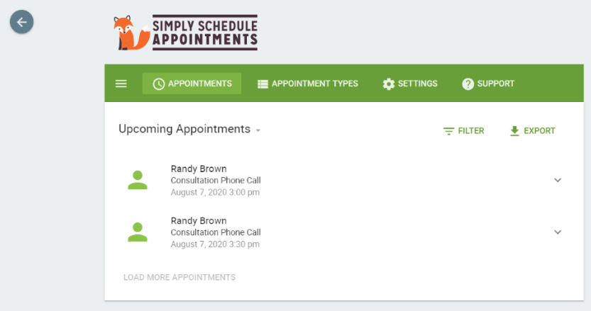 Upcoming Appointments List