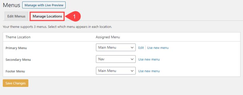 wp menus locations