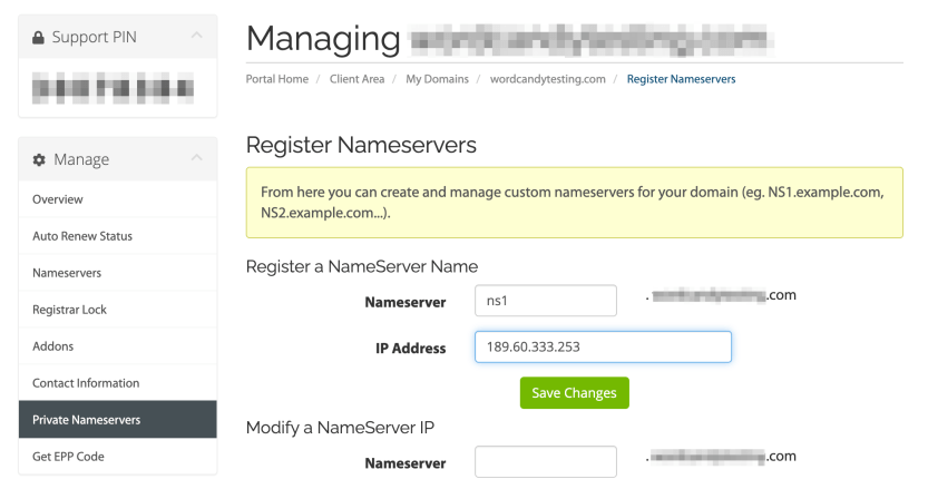 Adding a new nameserver.