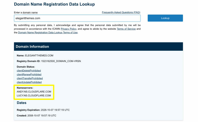 Viewing a site's nameservers using the ICANN lookup tool.