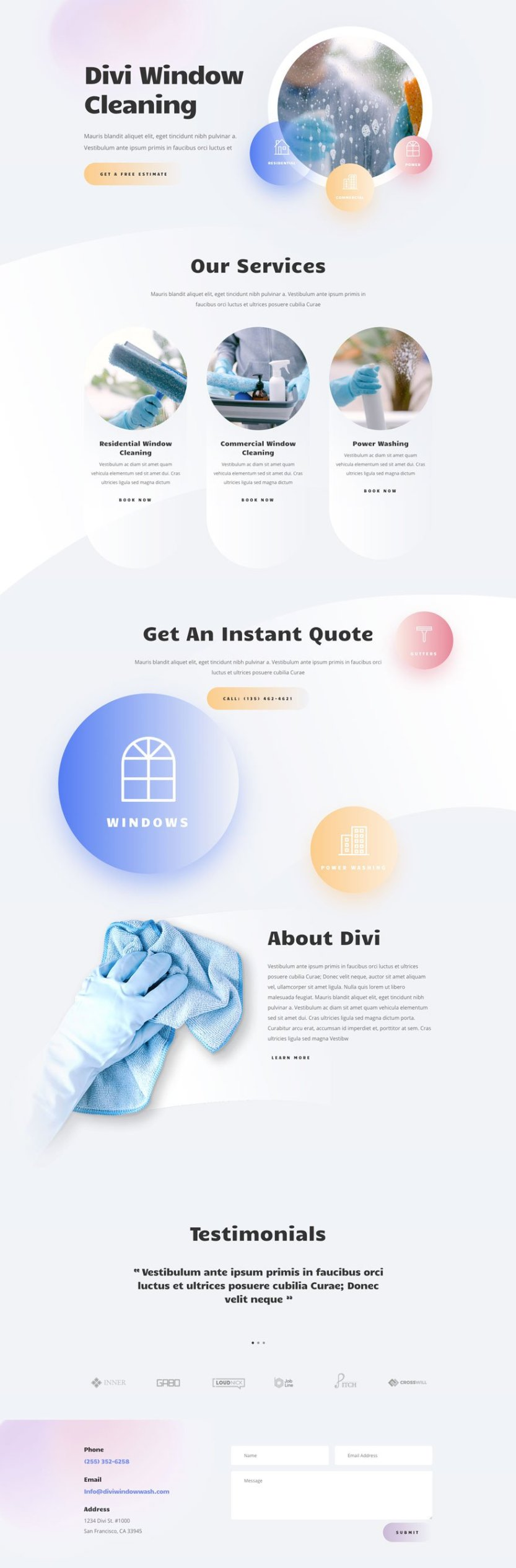 divi Window Cleaning layout pack