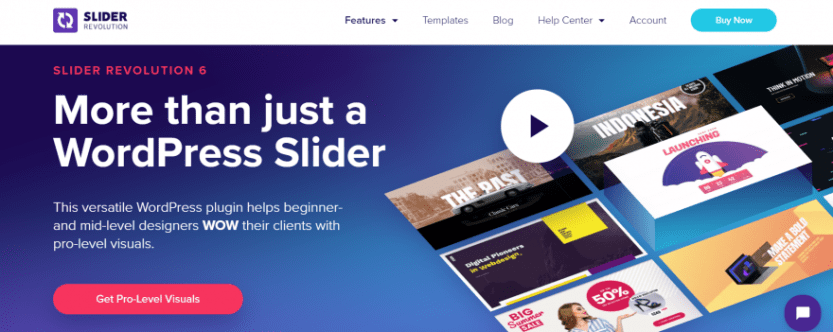 The Slider Revolution plugin,