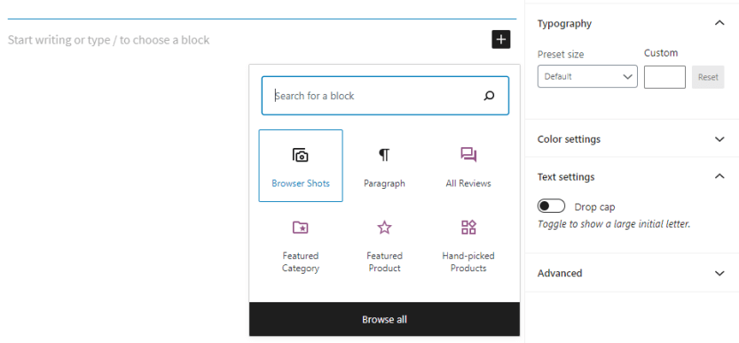 Adding a Browser Shots block.