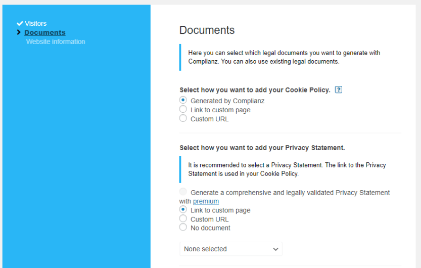 Choosing whether to generate a cookie policy or use your own.