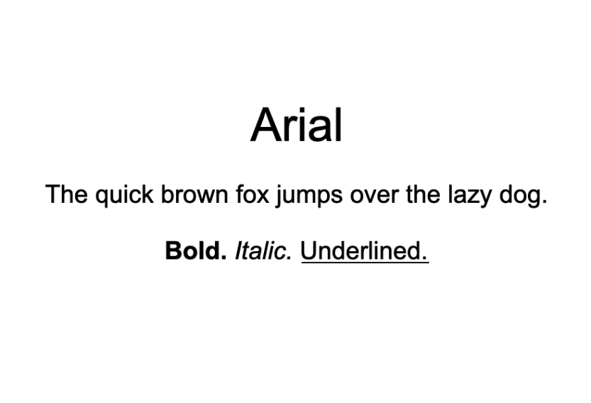 An example of the Arial font.
