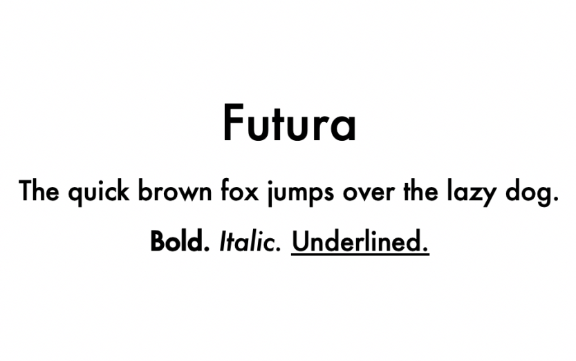 An example of the Futura font.