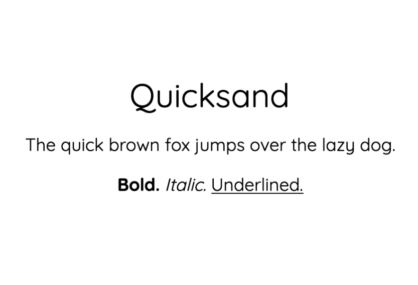 An example of the Quicksand font.