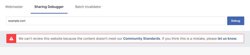 Results from Facebook's Sharing Debugger tool.