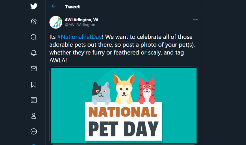 A tweet about national pet day.