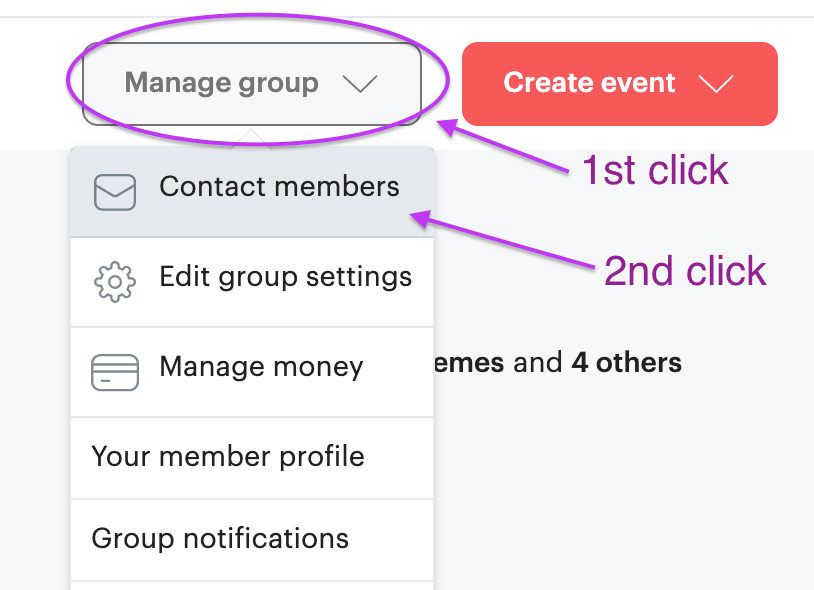how to email on meetup