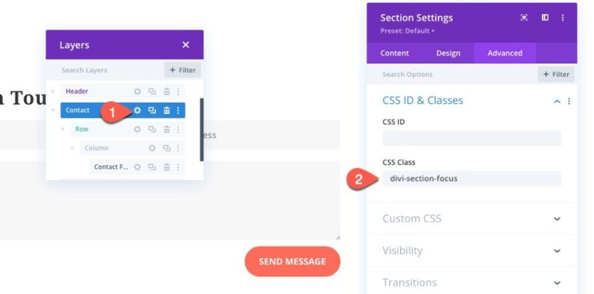 add CSS focus state styling to elements in divi