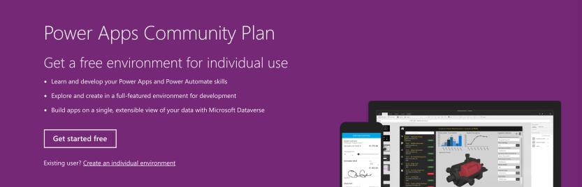 The Microsoft Flow Free Power Apps Community Plan.