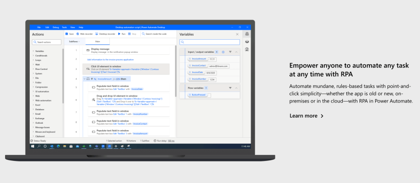 The Microsoft Flow automation tool.
