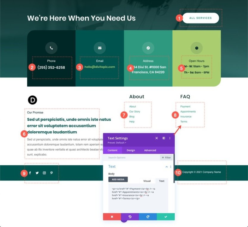 header footer template for Divi's Family Doctor Layout Pack