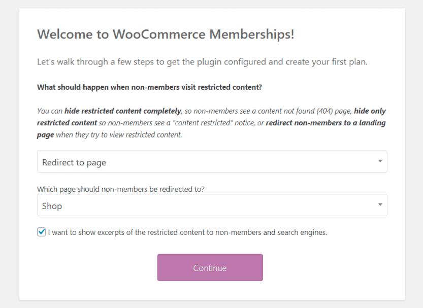 woocommerce membership setup wizard