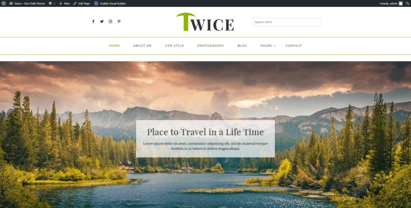 Twice Divi Child Theme Home Page