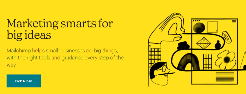 The MailChimp home page for email marketing services.