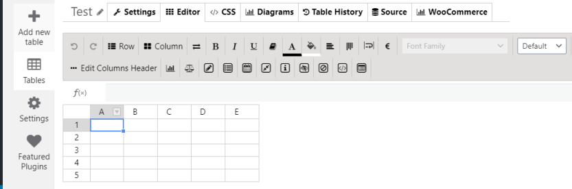 Using a built-in spreadsheet editor for WordPress