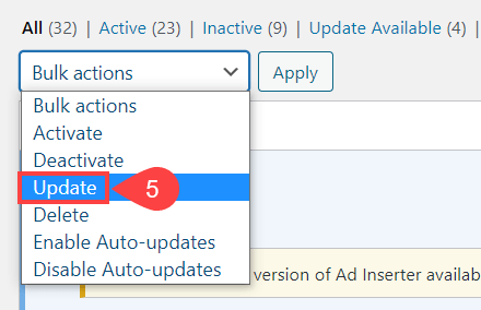 update plugins with dropdown